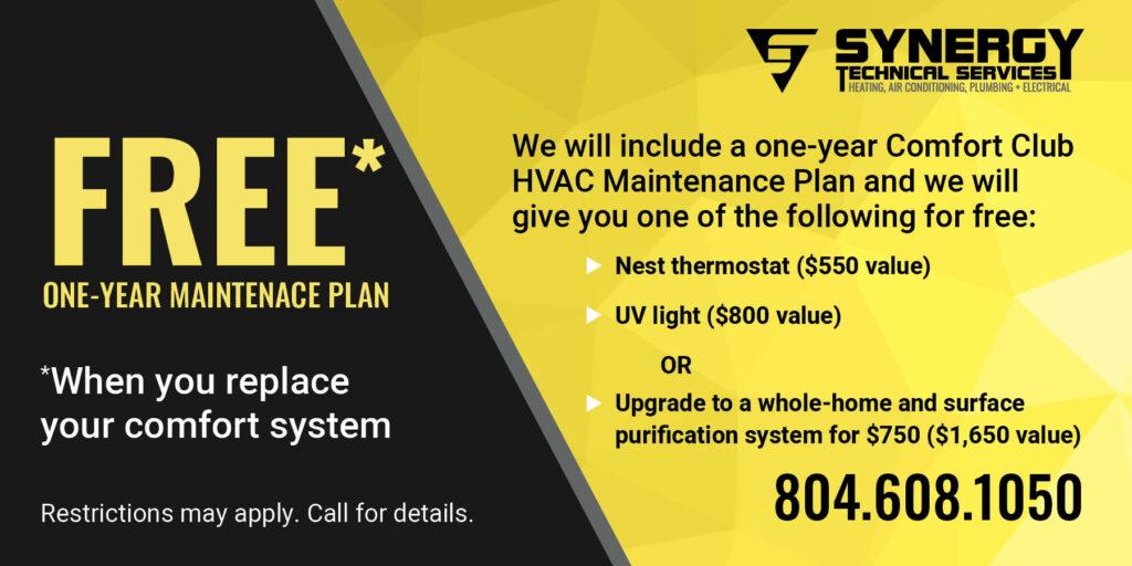 Free one year maintenance plan coupon.